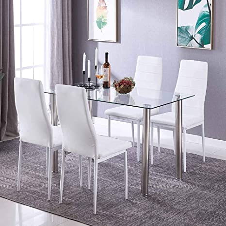 Fantastic 5 Pieces Modern Glass Dining Table Set With 4 High Back Faxu Leather Chairs White Ibusinesslaw Wood Chair Design Ideas Ibusinesslaworg