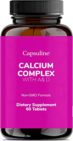 Capsuline Calcium Complex with A& D - 1000mg Supplements with Magnesium, Phosphorus, Vitamins A and D - Essential for Bone and Muscle Health and Immune Support - Non-GMO Formula - 60 Tablets/Bottle