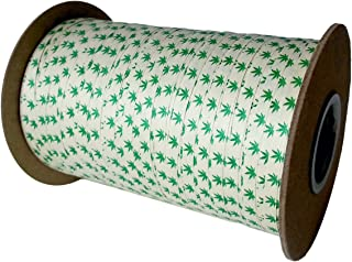 "product image for Cream City Ribbon Cannabis Leaf Organic Cotton Curling/Craft Ribbon, 3/16"" x 500 yd. (1500')"