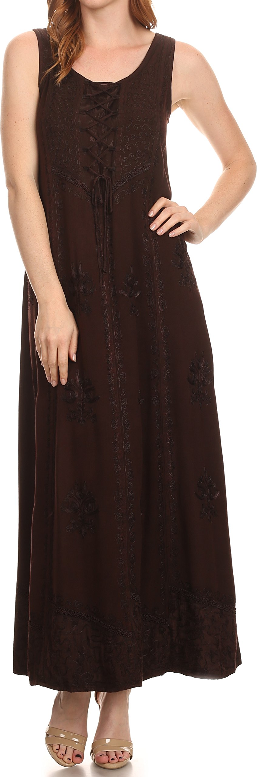 Sakkas 15229 - Stella Long Tank Top Adjustable Caftan Corset Dress With Embroidery - chocolate - 1X/2X