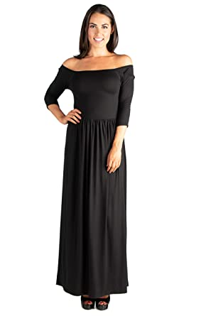 6d1ddb9ef28 24seven Comfort Apparel Women s 3 4 Sleeve Off The Shoulder Pleated Maxi  Dress - Made