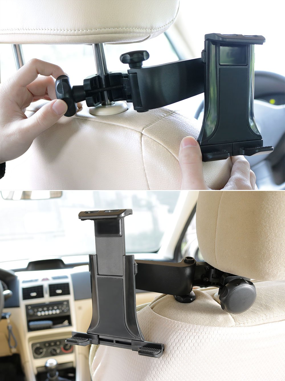 Car Headrest Mount, Adjustable iPad Stand Tablet Mount Holder Compatible with iPad Pro Air/Samsung Galaxy Tab 4/3/Nintendo Switch ,Fire HD 8 10 and all 4.7-11 inch Phone Devices