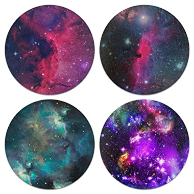 CARIBOU Coasters, Purple Marvel Nebula Galaxy Design Absorbent ROUND Fabric Felt Neoprene Coasters for Drinks, 4pcs Set
