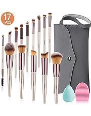 Makeup Brushes Set, 17PCs Cosmetic Brushes With Makeup Sponge, Brush Cleaner, Tote Storage Bag For Foundation Blending Blush Powder Blush Concealer Eye Shadows Brushes Kit By MIBOTE