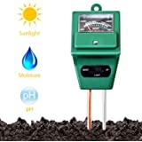 Soil Moisture Meter,3 in 1 Soil Test Kit,Soil PH Test kit Gardening for Moisture,Light & PH Testing,Digital Indoor/Outdoor Soil Tester/Analyzer/Detector Reader with Probe for Home and Garden,Farm,Lawn