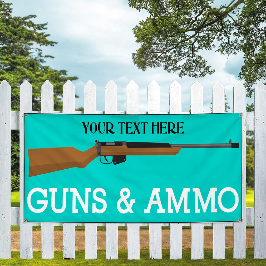 Custom Industrial Vinyl Banner Multiple Sizes Guns /& Ammo Style C Personalized Text Here Funny and Novelty Outdoor Weatherproof Yard Signs Teal 10 Grommets 56x140Inches