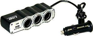 3 fach Verteiler  für KFZ Zigarettenanzünder USB Buchse 12V 24V 1x USB 500mAh