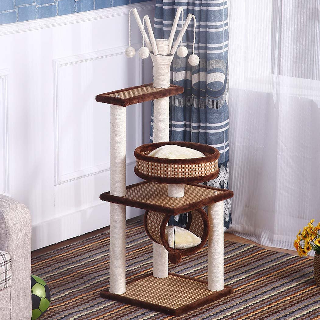 Brown W&J Pet Palace, Kitten Activity Tower Condo,Multifunctional Sisal Climbing Frame,Kitten Nest Cat Tree Cat Scratch Board Cat Toy,Cat Grabbing Tree Frame Cat House,Solid Wood (color   Brown)