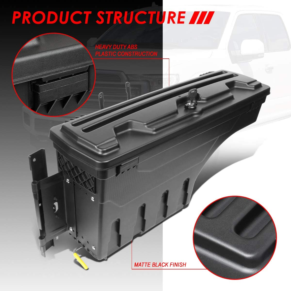 Driver Side Truck Bed Wheel Well Storage Case Tool Box Replacement for Ford F-150 15-20