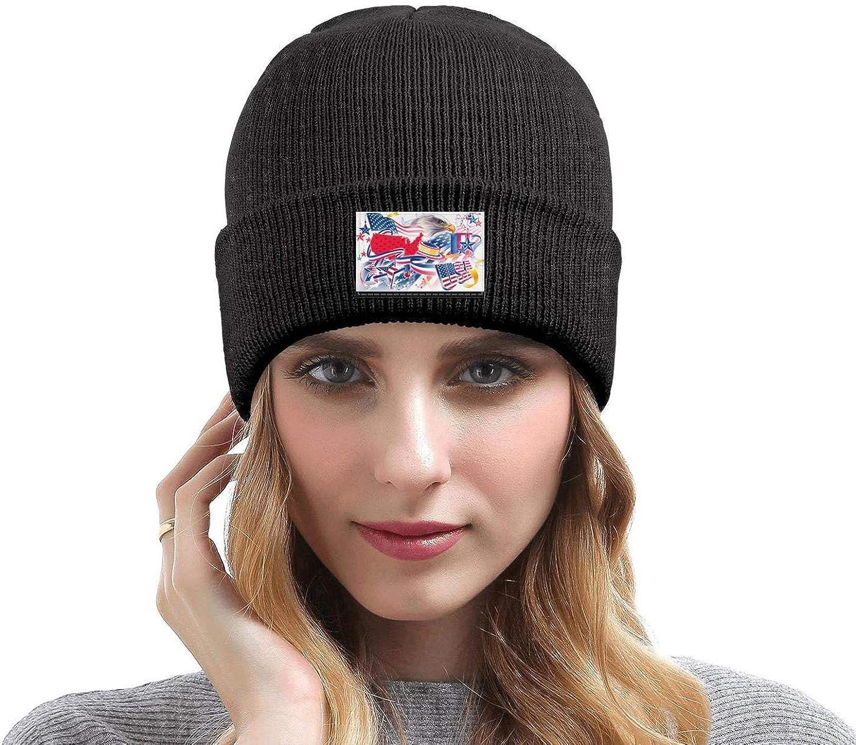 FYFYOK Men Slouchy Beanie Hat Toboggan Hats Bald American Flag 1 Stretchy Cap