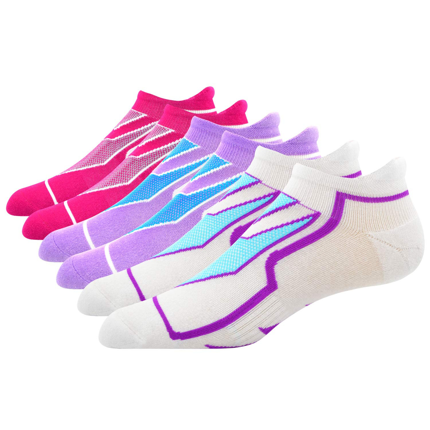 6 Pairs Red Purple White1 Busy Socks Unisex High Performance Breathable No Show Coolmax Running Socks 3,6 Pairs