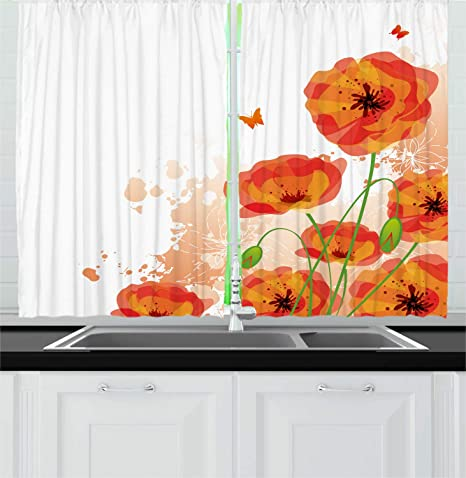 Amazon Com Lunarable Art Kitchen Curtains Spring Illustration With Poppy Flowers With Butterflies Window Drapes 2 Panel Set For Kitchen Cafe Decor 55 X 39 Vermilion Orange Home Kitchen