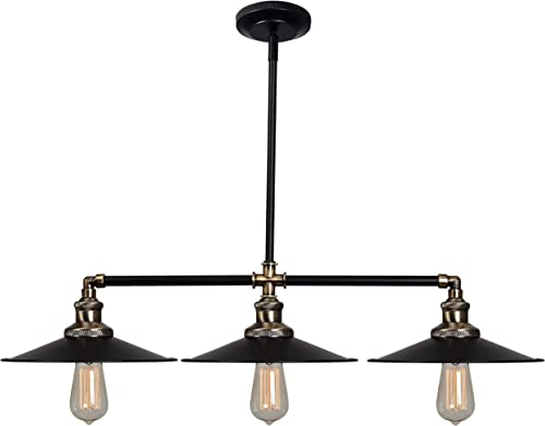 Kenroy Home Rustic 3 Light Island,5.5 Inch Height, 39 Inch Width, 10 Inch Extension, Black and Antique Bronze