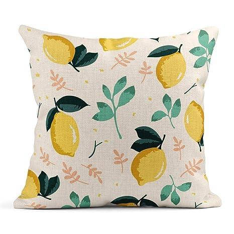 Kinhevao Cojín Naranja Fruta Patrón de Verano Limones Flores ...