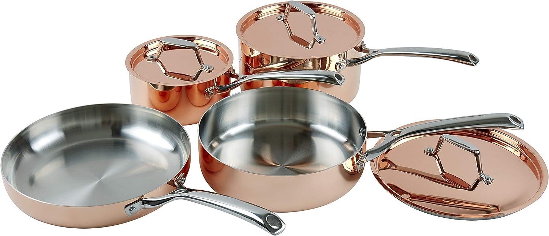 Copper Pan Set with Lids 4 Piece Frying Pan Pots Saute French