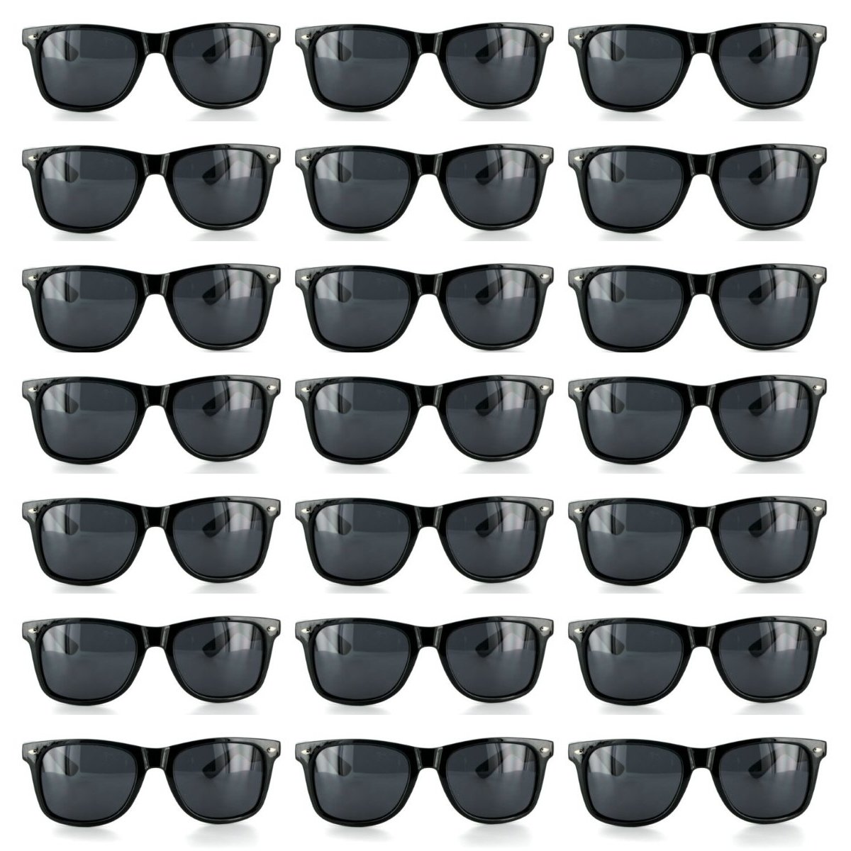 Wholesale Lot of 120 Black Sunglasses Retro Horned Rim Frame Party Favors (Black, Black) by MJ EYEWEAR