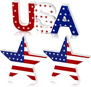 Jetec 3 Pieces Independence Day Table Wooden Signs USA and Five-Pointed Star Table Wooden Ornaments for Patriotic Theme Supplies Table Desk Office Home Party Decoration
