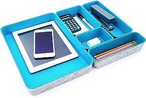 WELAXY Felt Desk Organizer Paper Letter Trays File sorter desktop drawer organizers bins set for home office Document Folders storage Room Cozy Decor, 5-pack (Turquoise)