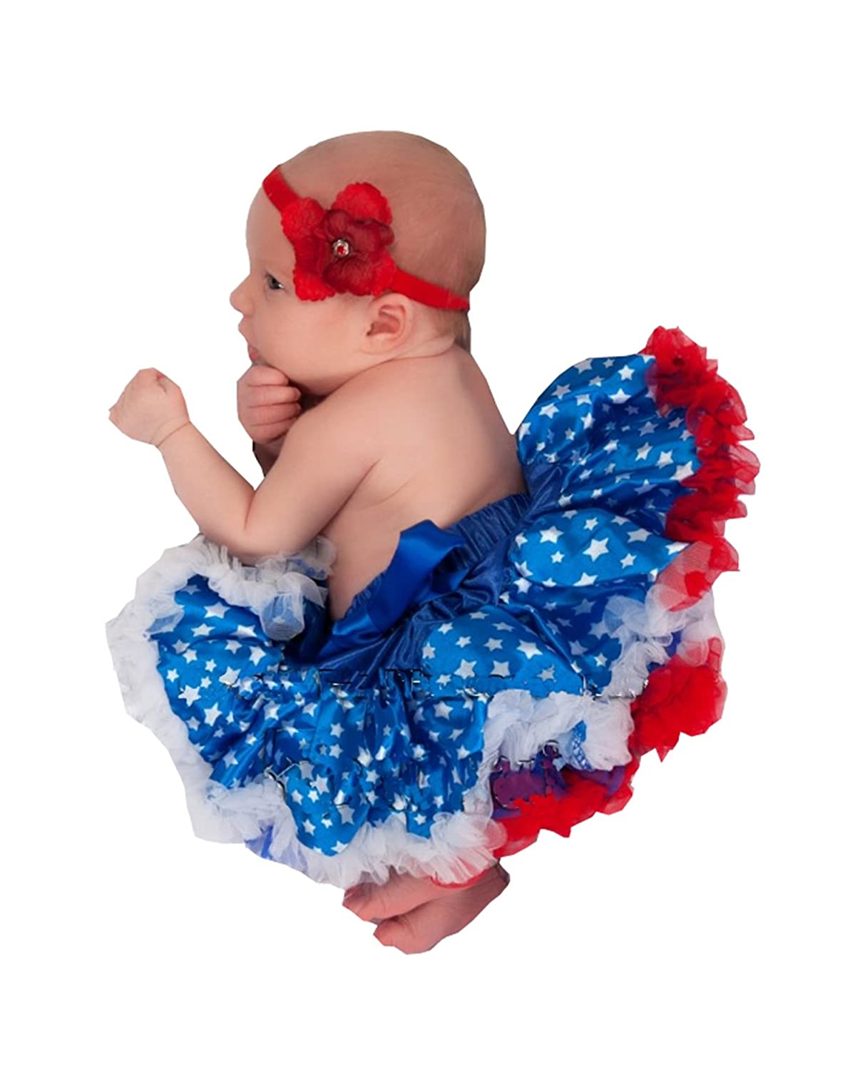 73adbdb3b1 Ameda Newborn Baby 4th of July Patriotic Pettiskirt Red White Blue NB-6M