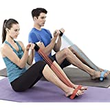 Abdominal Waist Leg Slimming Trainer , Upgrade 4-Tube Fitness Sit-up Exercise Equipment with Elastic Pull Rope for Arm…