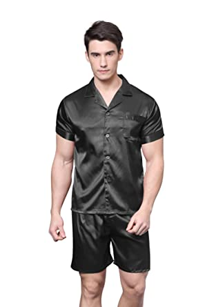 TONY AND CANDICE Men s Short Sleeve Satin Pajama Set with Shorts at ... 6dd5725c2