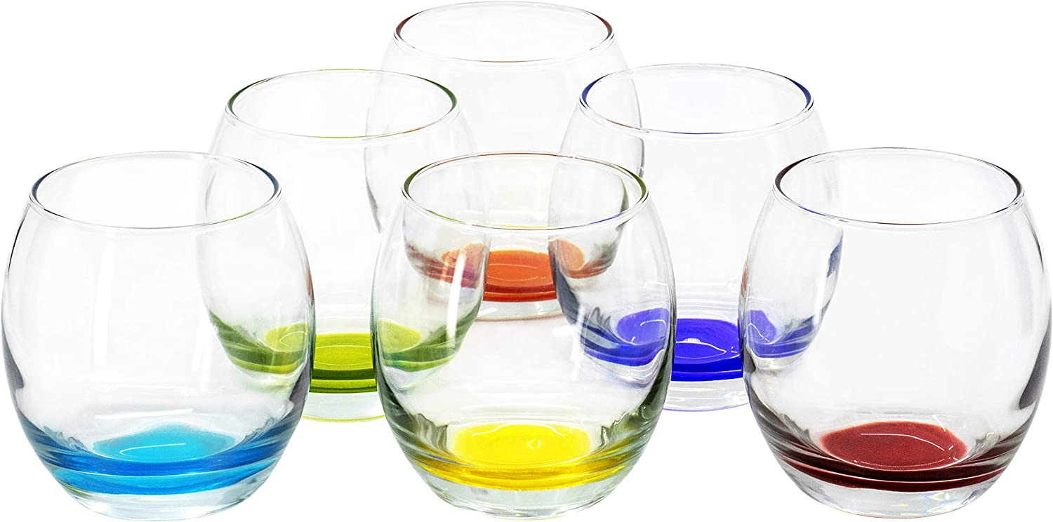Prism Multi Colored Stemless Wine Beverage Glasses, 13.75 Ounce - Set of 6