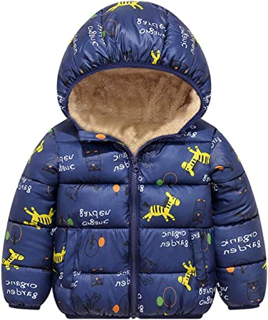 Girls-Boys-Baby Winter Cartoon Print Warm Jacket Windproof Coat Tops