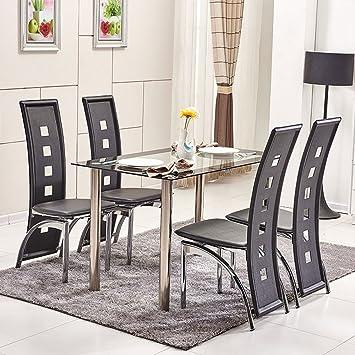 OSPI® 4 x Alte sedie da pranzo nere in similpelle, con tavolo da ...