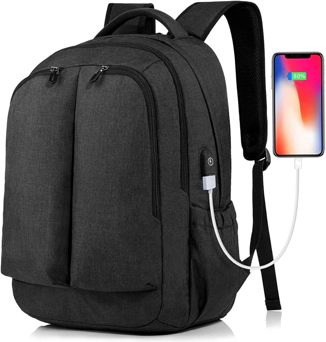 17 Inch Laptop Backpack Large Travel Bag with USB Charging Port and Earphone Hole for Travel/Business/College/Women/Men