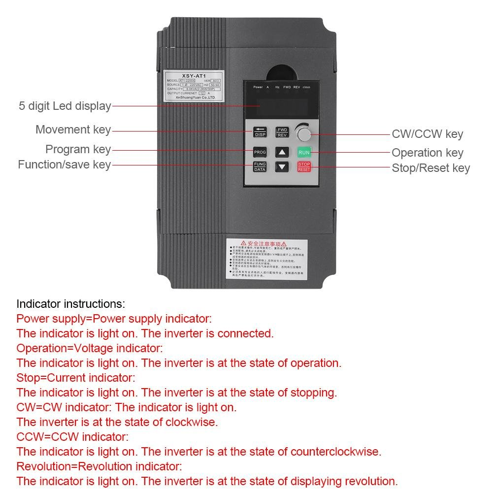 VFD Inverter Single to 3 Phase, 220V Variable Frequency Drive,Low Noise and Low Electromagnetic Interference,Large Torque,Speed Controller for 3-Phase 2.2KW AC Motor by Thincol (Image #2)
