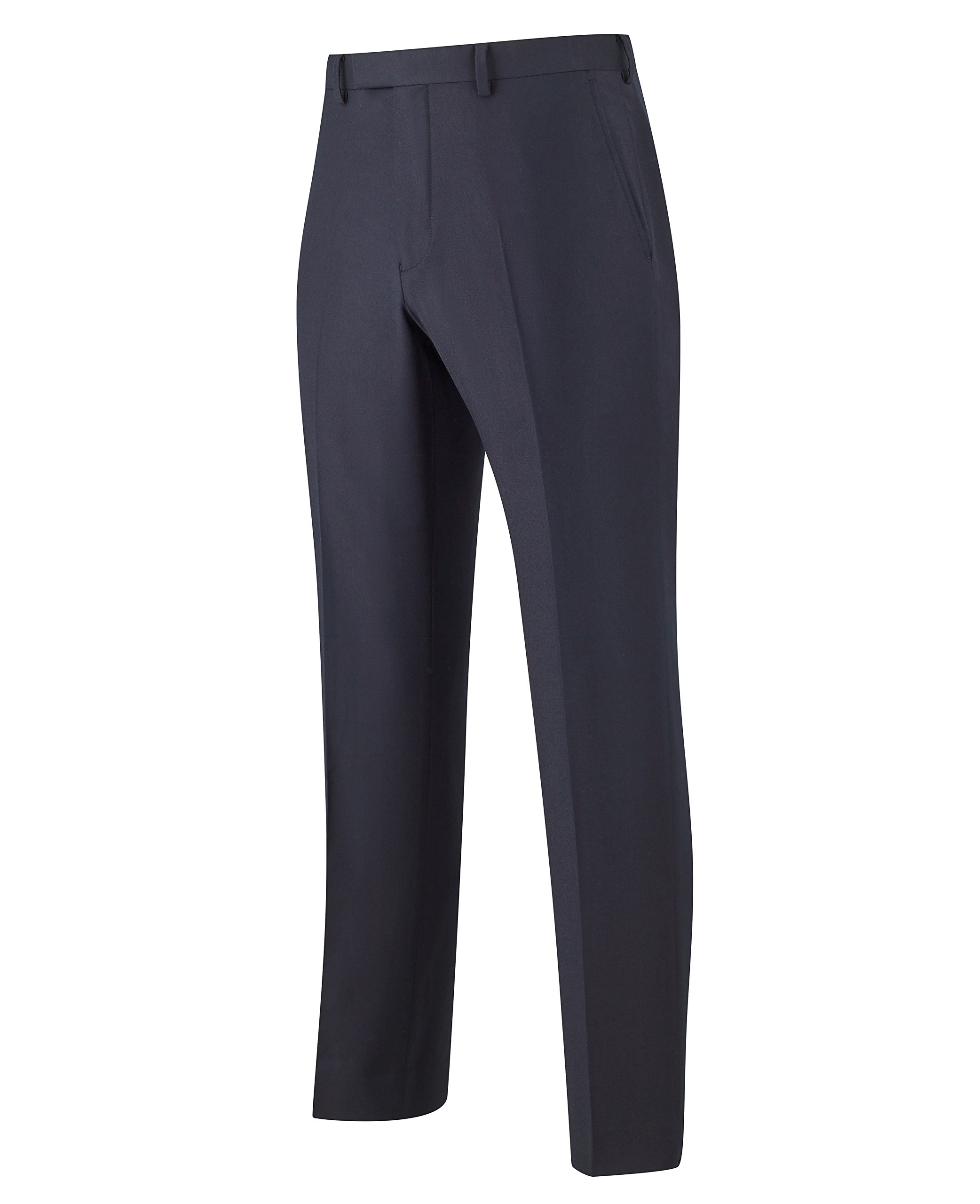 The Savile Row Company Savile Row Men's Navy Luxury Flannel Business Suit Trousers 40'' 32''