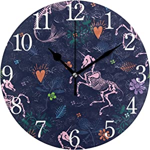 Bolaz Silent Non Ticking Round Wall Clock, Halloween Unicorn Skeleton Home Decor Battery Operated for Living Room, Kitchen, Bedroom