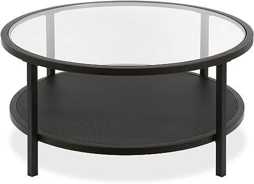 Henn Hart Industrial Round Coffee Open Shelf Storage, Blackened Bronze Finish Table, Black