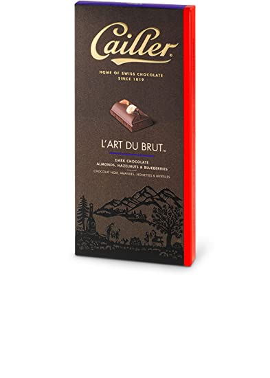 3af4608f42a89 CAILLER L Art Du Brut Dark Chocolate Cocoa Bar with Whole Almonds ...
