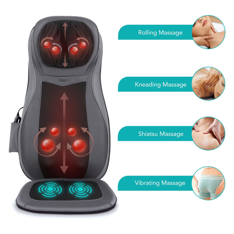 Risultati immagini per Naipo Massaggio Schiena Shiatsu, Massaggiatore Elettrico per Collo e Schiena, Sedile di Vibrazione,