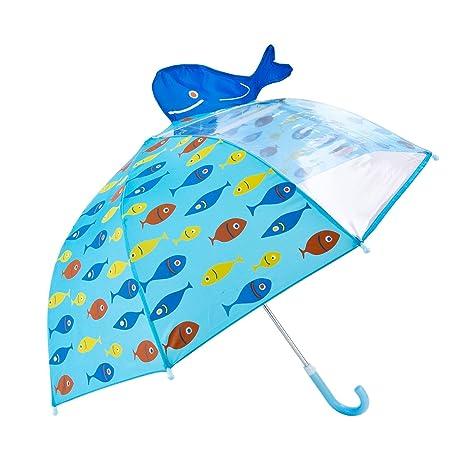 Tradeone Paraguas manual infantil para niños-ventana transparente,Ballena 3D, Azul