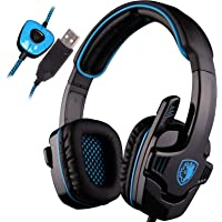 SADES SA901 Over Ear USB Wired 7.1 Surround Noise Cancelling PC Gaming Headset with Microphone - Black/Blue (Electronic…