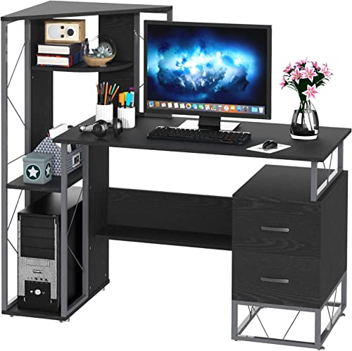 HomCom 52″ Multi-Level Steel Wood Computer Workstation Desk