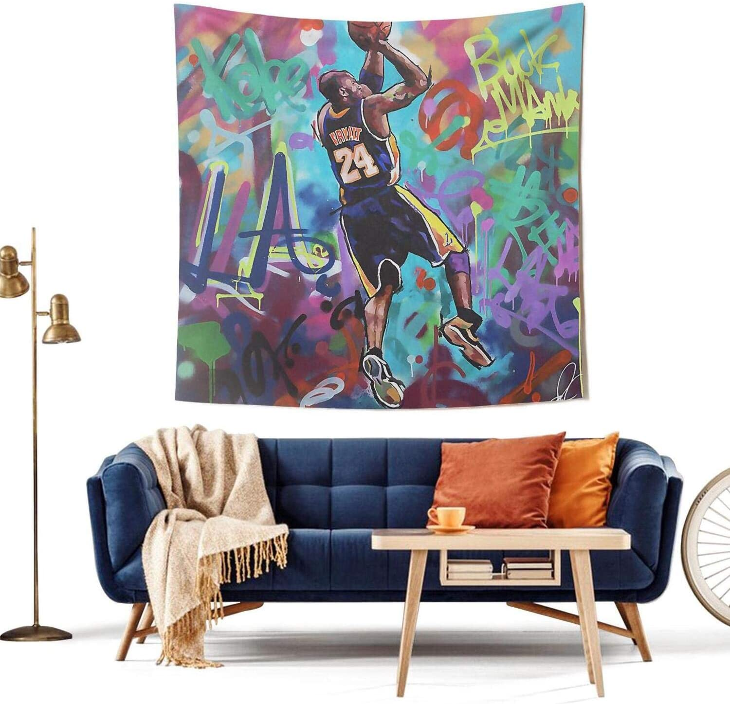 COOLGOOD LA Legend 8 24 Basketball-Player Tapestry,Wall Hanging Bedroom Decor, for Men Women Teen Girl College Dorm Room Decor Livingroom Tapestrys 5959 inch
