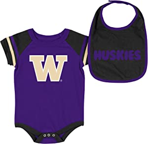 Colosseum NCAA-Roll Out- Baby Short Sleeve Bodysuit and Matching Bib 2-Pack Set-Newborn and Infant Sizes