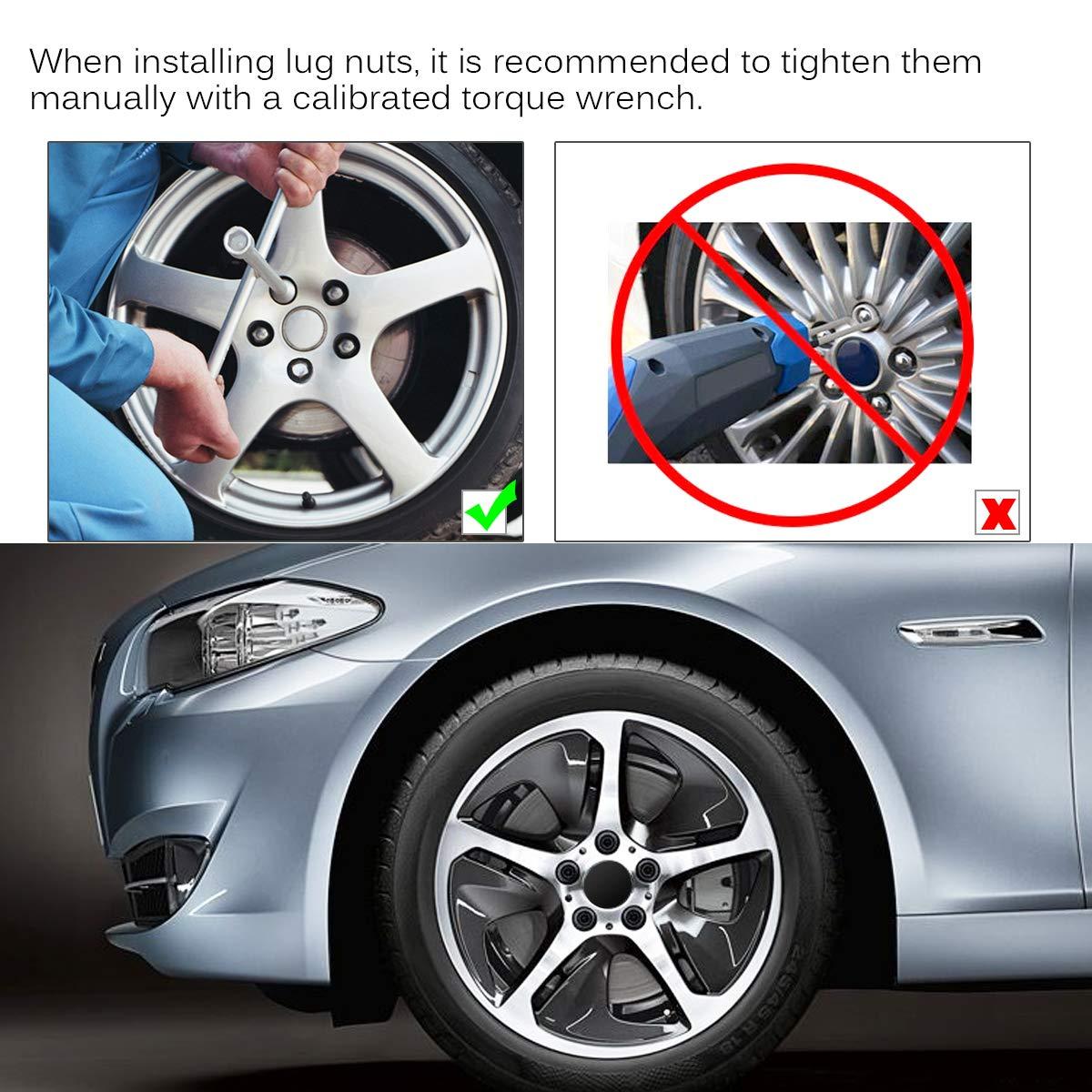 Wheel Lug Nuts Bulge Acorn Spline 1.38 Tall with 1 Lug Nut Key Compatible for Jeep Dodge Ford Wrangler Liberty Nitro Edge Mustang Commander etc 20+1Pcs PUENGSI Lug Nuts 1//2 x 20 Black