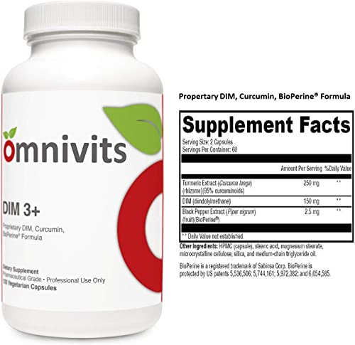 Omnivits DIM 3 Turmeric Extract Curcuma Longa 250mg, DIM diindolylmethane 150mg, Black Pepper Extract BioPerine 2.5mg Supports Healthy Estrogen Metabolism Men Women 120 Vegetarian Cap
