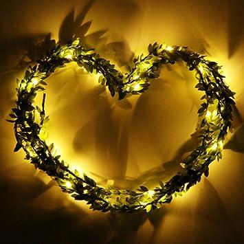 Weihnachts Girlande Lichterkette, 3 m 30 Leds Leaf Ring Wetter Akku ...