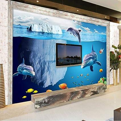 Xbwy Dibujos Animados En 3D Pescado Tiburón Foto Submarina Mural ...