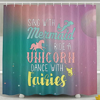 Amazon Mermaid Unicorn Faires Shower Curtain Fabric Bathroom