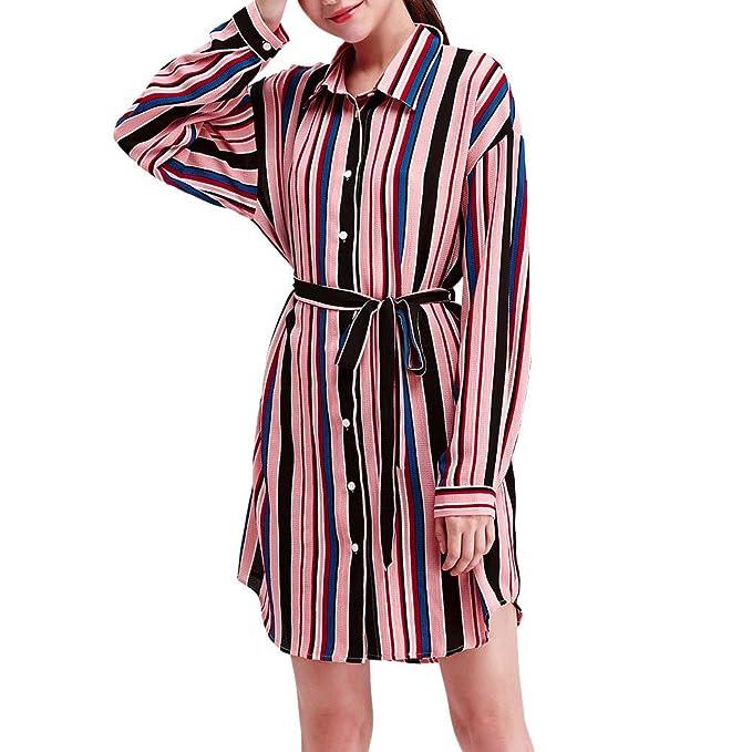 Lenfesh_Vestidos Vestido de Mujeres, Mujer Rayas Manga Larga Mini Vestido con Botón Vestidos Elegantes Moda: Amazon.es: Ropa y accesorios
