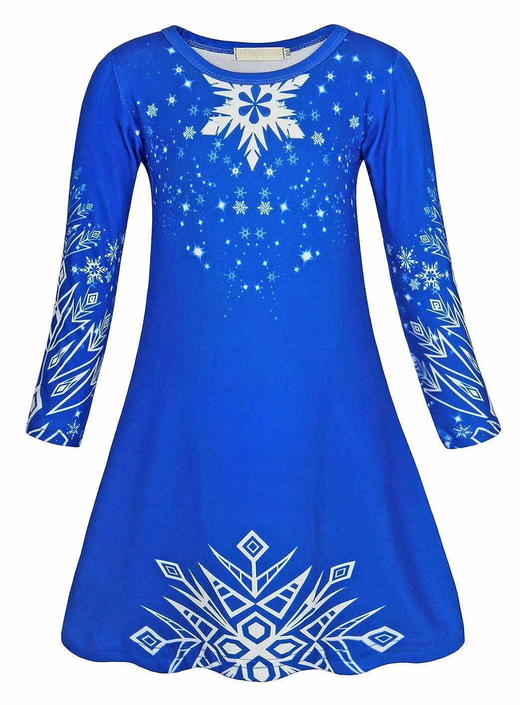 AmzBarley Girls Nightgowns Sleepwear Elsa Sleepshirts Long Sleeve Kids Pajamas Night Sleep Dress