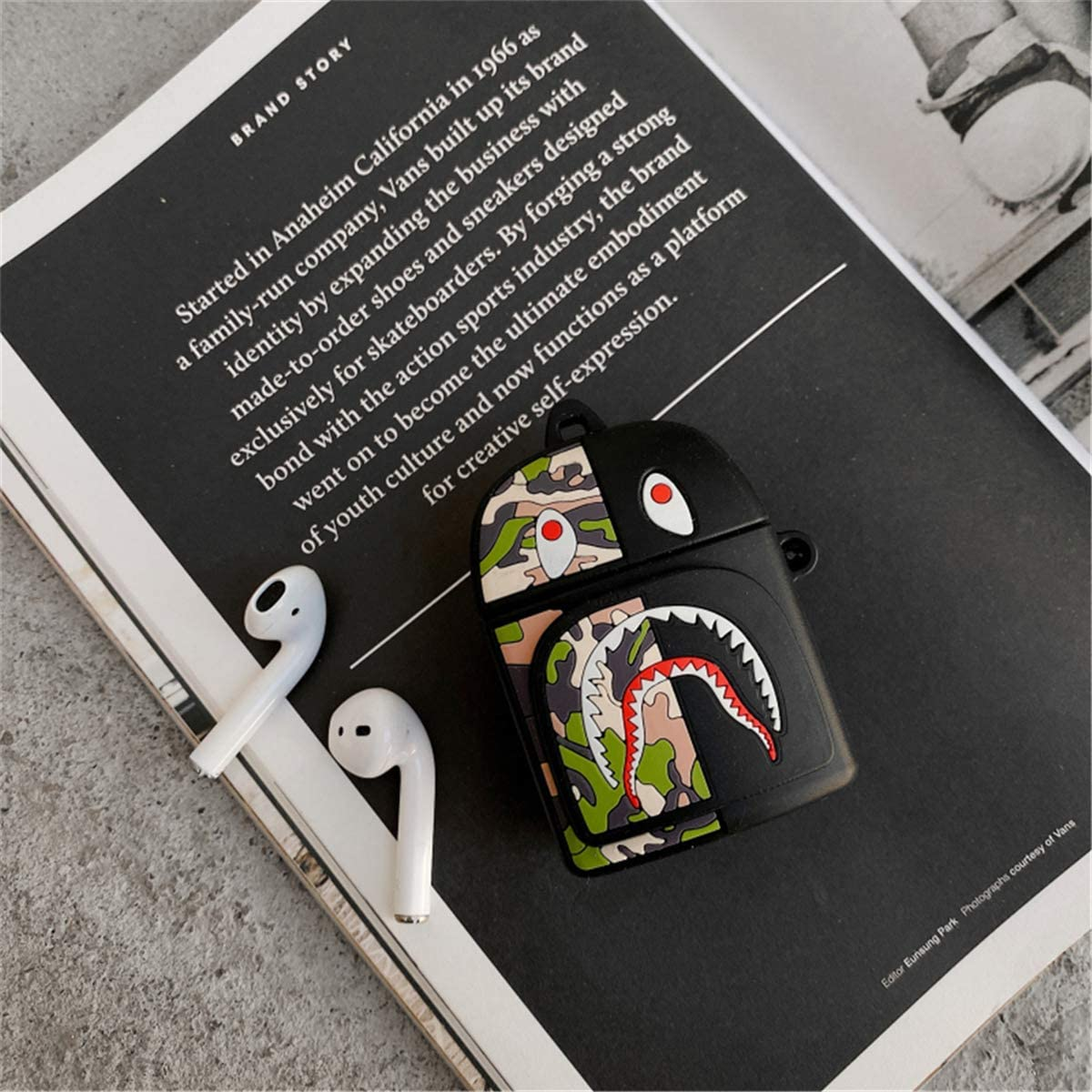 Shark Bag Yellow label Case for AirPod 2//1 Soft PVC Air Pods Cover Protective Cartoon Fashion Cute Cool Stylish Trendy Character Design Shockproof Keychain Skin Cases Teens Boys Men for AirPods 2/&1
