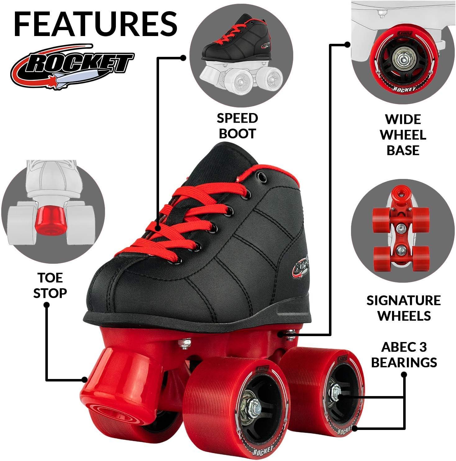 Crazy Skates Rocket Roller Skates for Boys and Girls Great Beginner Kids Quad Skates Black and Red Patines Size 3.5