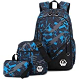 Mioy teenager school bag Canvas printing Backpack durable student bag Large Capacity 15 inch laptop daypack 3 pieces set